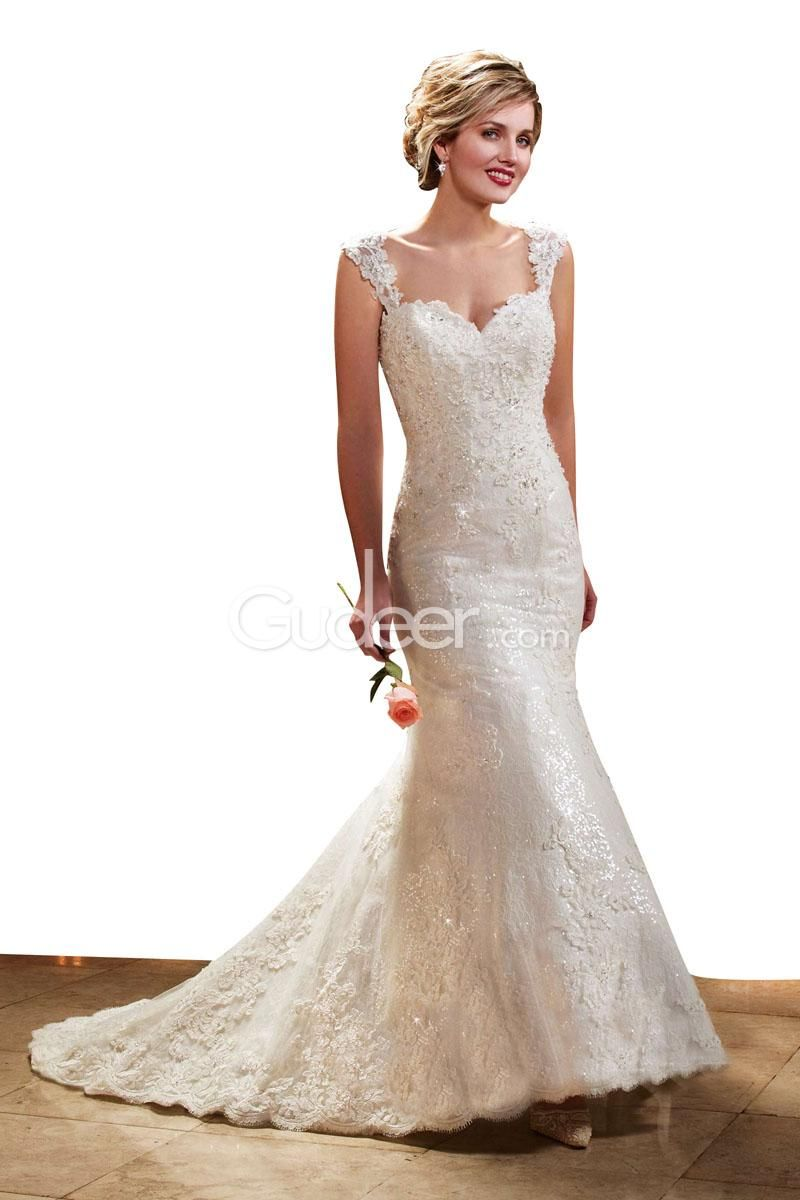 Wonderful mermaid full lace cap sleeves sheer back wedding dress