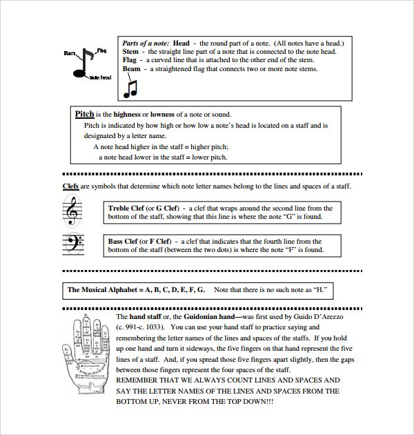 The Printable Music Note Templates Are A Standard Template Created