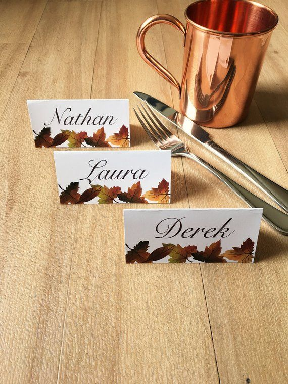 PRINTED Thanksgiving Place Cards Fall Dinner Party Seating Cards