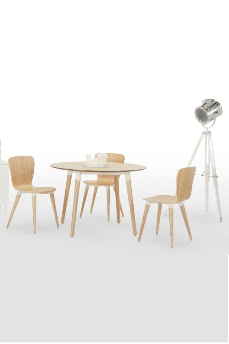 Edelweiss runder Esstisch und Stühle in Esche und Weiß. Für alle ...