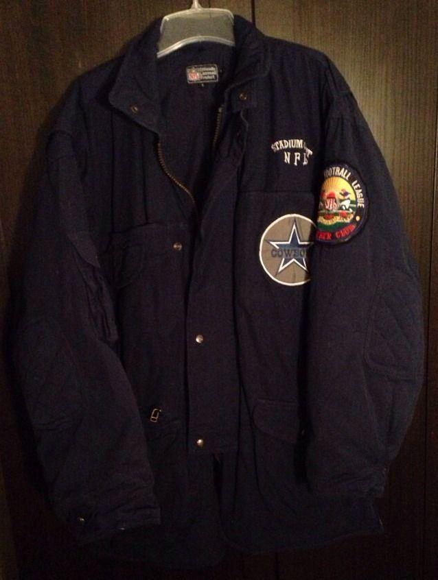 brand new 6e9b4 fbeb9 Mens Large Vintage 1991 Dallas Cowboys Stadium Coat Jacket ...