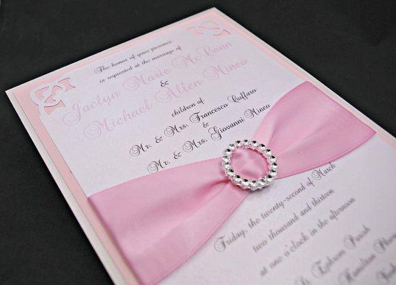 Shimmering Pink Silver Wedding Invitations Full By Invitebling 5 00 Found On Etsy