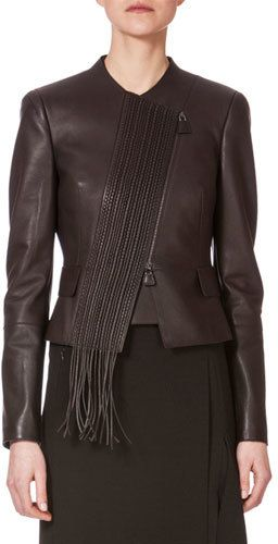 Akris Embroidered-Front Leather Jacket, Date - $4,490.00