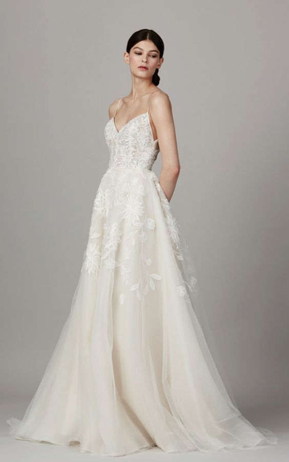 Chic Spaghetti Strap V Neck Wedding Dress With Embroidered Fl Stem And Leaf Design Featured Lela Rose