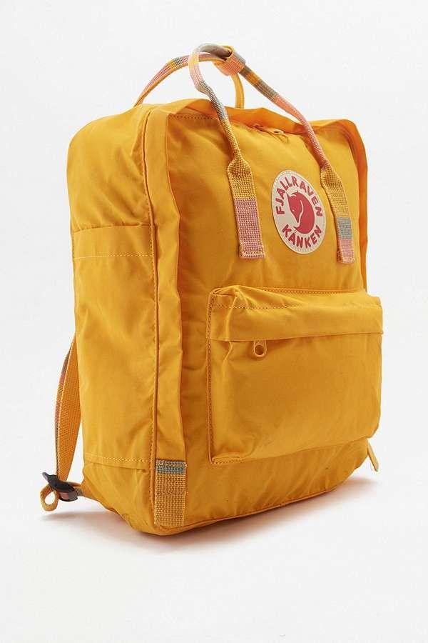 Fjallraven Kanken - Sac à dos rayé jaune avec poignée