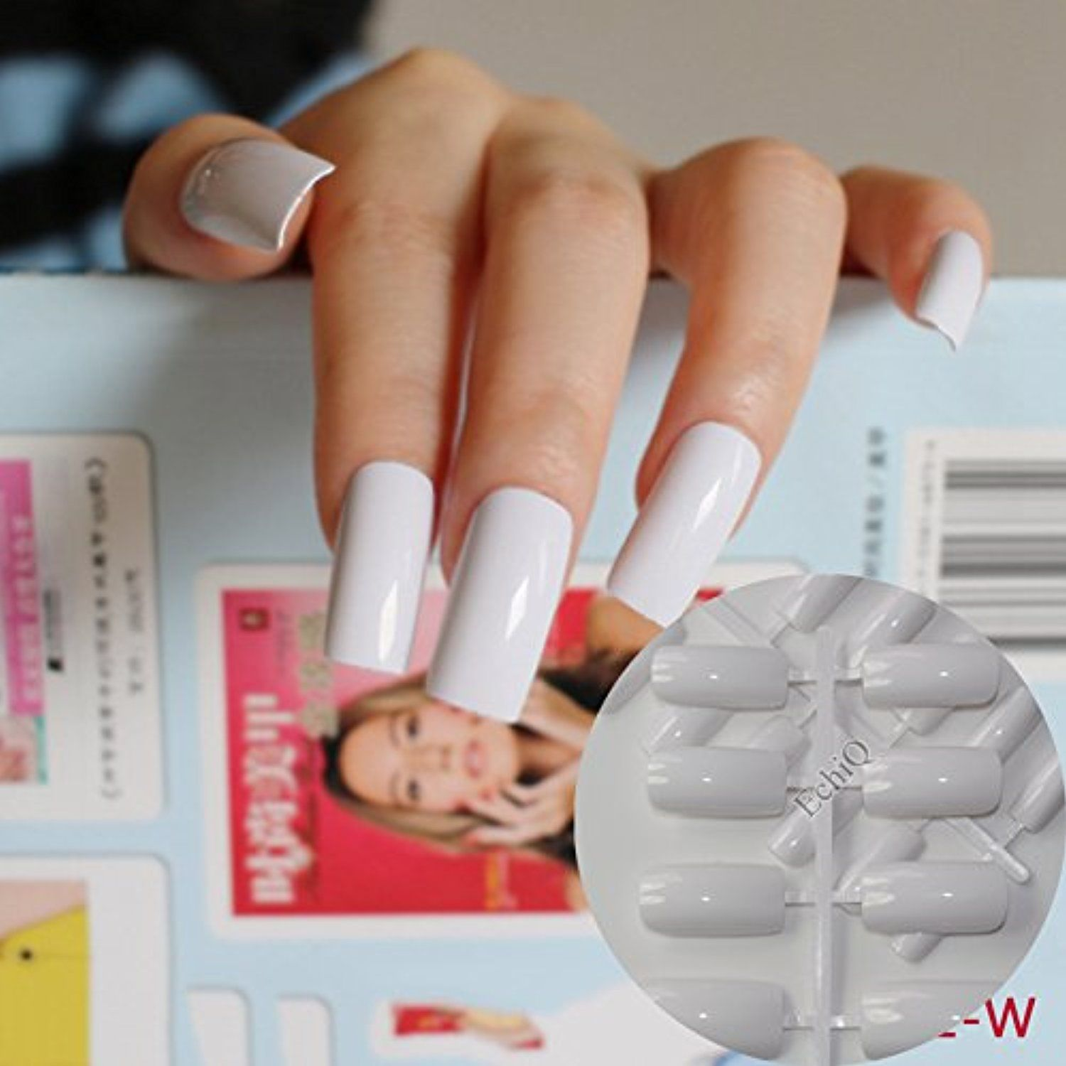 Ultra Long Acrylic Nail Tips White Flat Fake Nails Full Wrap French Kit 24pcs With Display Easy To Use WL You Can Get More Details By Clicking On