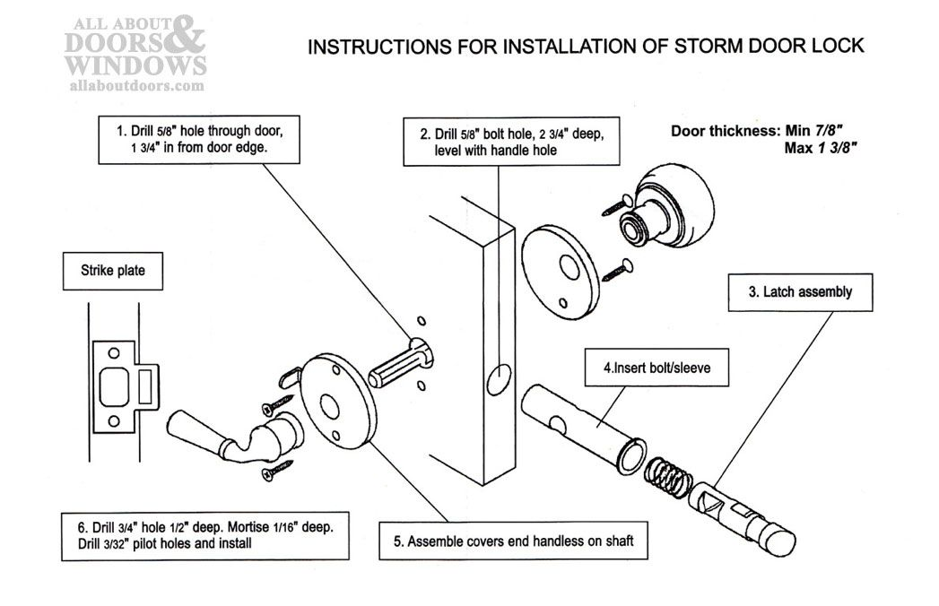 303052 Screen Storm Door Lock Polished Br All About Doors And Windows Parts Hardware