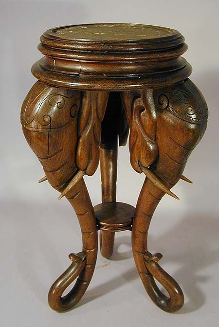 ELEPHANT~wooden Carved Elephant Side Table Ca. 1910