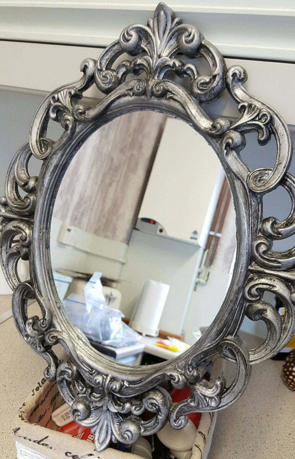 plastic mirror painted in silver and aged using black. shabby chic ...