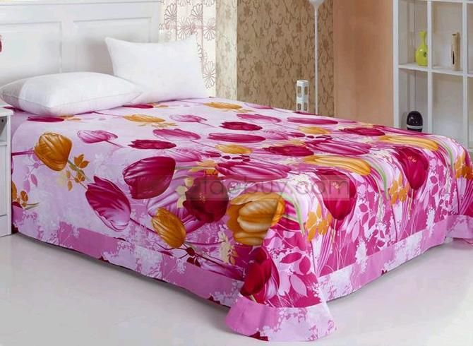 Showy Colorful Tulips Cotton Sheet with Printing