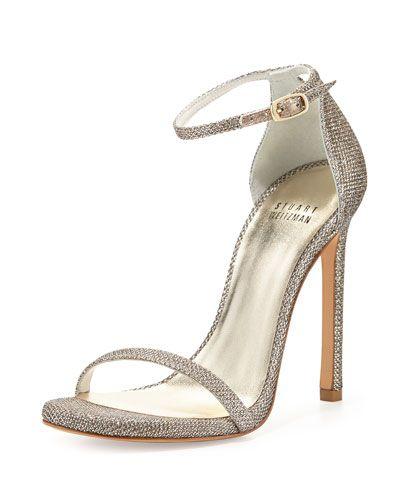 X2CTF Stuart Weitzman Nudist Ankle-Strap Sandal, Platinum