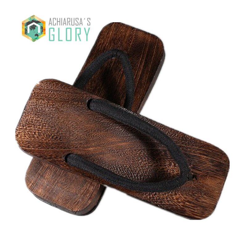 Mens Leather Clogs Wood Sole Flip Flop Sandals Black Shoe SLip On Summer Slipper