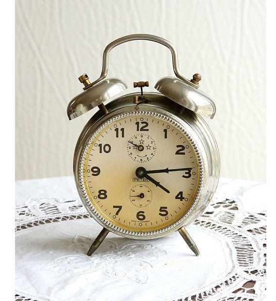 Vintage Large Alarm Clock German Desk Clock By Vintagecorner42