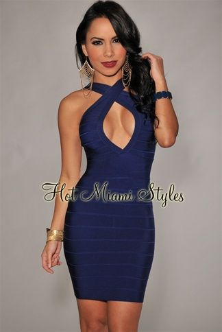 Navy-Blue Criss Cross Peep Hole Bandage Dress | My Style Can't Be ...