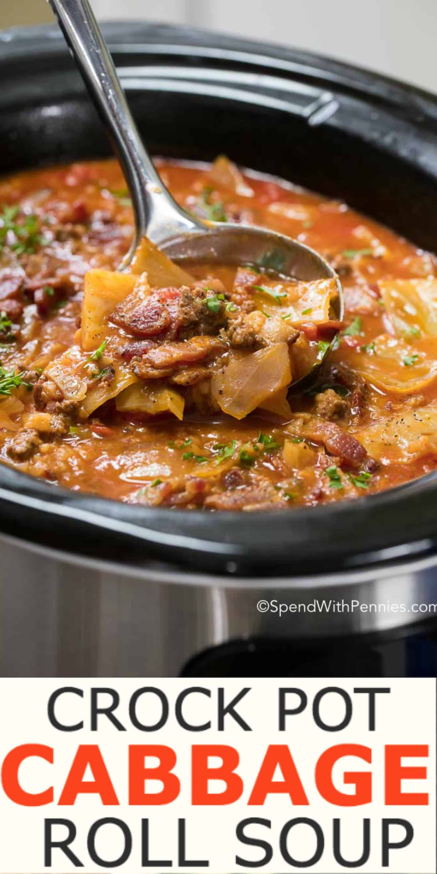 Crock Pot Cabbage Roll Soup is a simple twist on traditional Cabbage Rolls, a family favorite for years! Cabbage, onion, beef and bacon all tenderly prepared in a rich beef and tomato broth, slowly simmered in your crock pot.