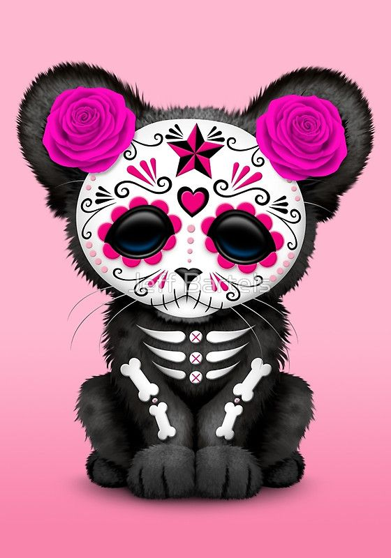 pink day of the dead sugar skull panther cub jeff bartels rh pinterest com Panthers Logo Panther Paw