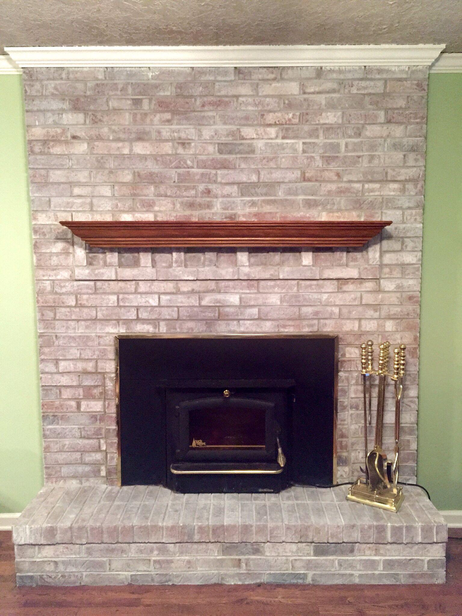 Whitewashed Fireplace Brick Fireplace Makeover White Wash Brick