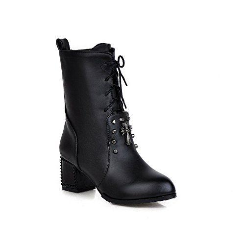Girls Metal Ornament Comfort Mule Black Imitated Leather Boots - 6.5 B(M) US