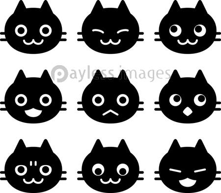 猫の顔のアイコンセットの写真 イラスト素材 Xf3975320145