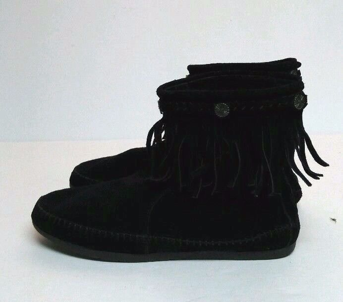 Skechers Love Letters Teepee Fashion Boots Black Leather Women's 7 Moccasin  Shoe