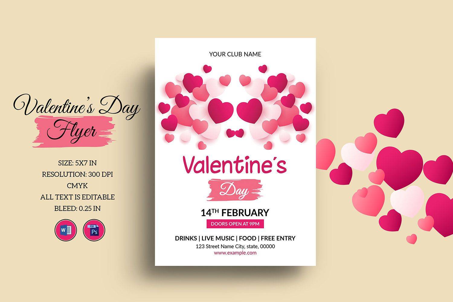 Printable Valentines Day Party Flyer Template Valentines Day Party Invitation Template Ms Word Ph In 2020 Valentines Day Party Party Flyer Party Invite Template