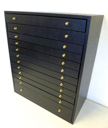 12 Drawer Jewelry Organizer W 12 Black Flocked Insert Trays Trays