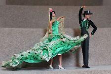 """Marin flamenco Vintage 10.5"""" Muñeca & macho par Chiclana Española Vestido Verde"""