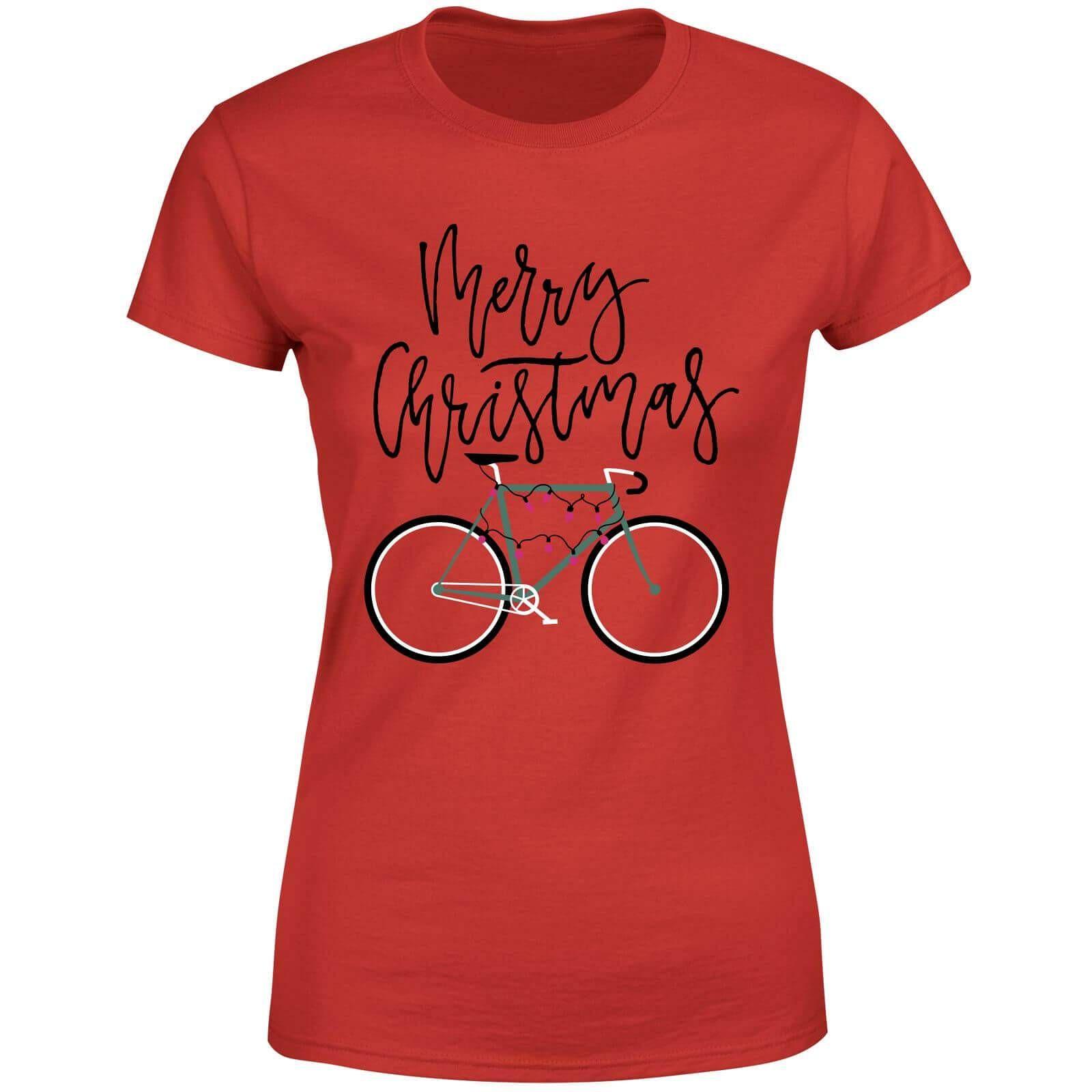 6b519c1b6a Christmas tshirts for women - Broom Wagon Bike Lights Women's Christmas T- Shirt - Red - M - Red