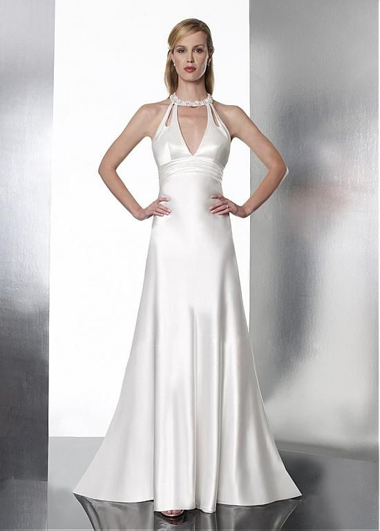 UNIQUE SATIN A-LINE JEWEL NECK BEADED EMPIRE WAIST WEDDING DRESS LACE FORMAL PROM PARTY BALL GOWN CUSTOM SIZE