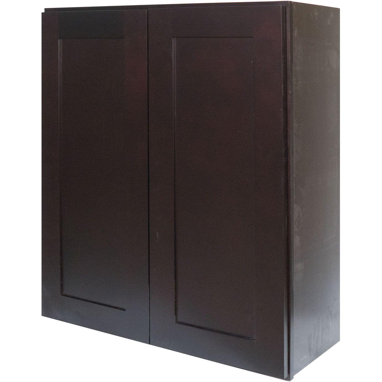 Beau Everyday Cabinets 27 Inch Dark Espresso Shaker Double Door Wall Cabinet  (Dark Espresso Shaker