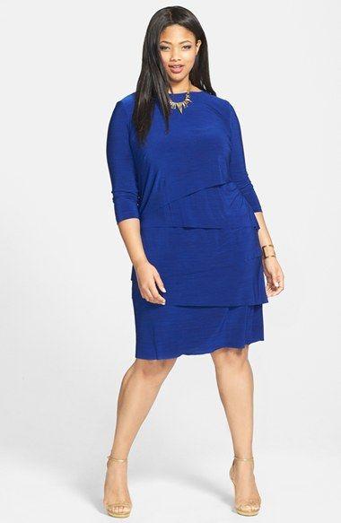 tahari mélange jersey tiered sheath dress (plus size) | nordstrom
