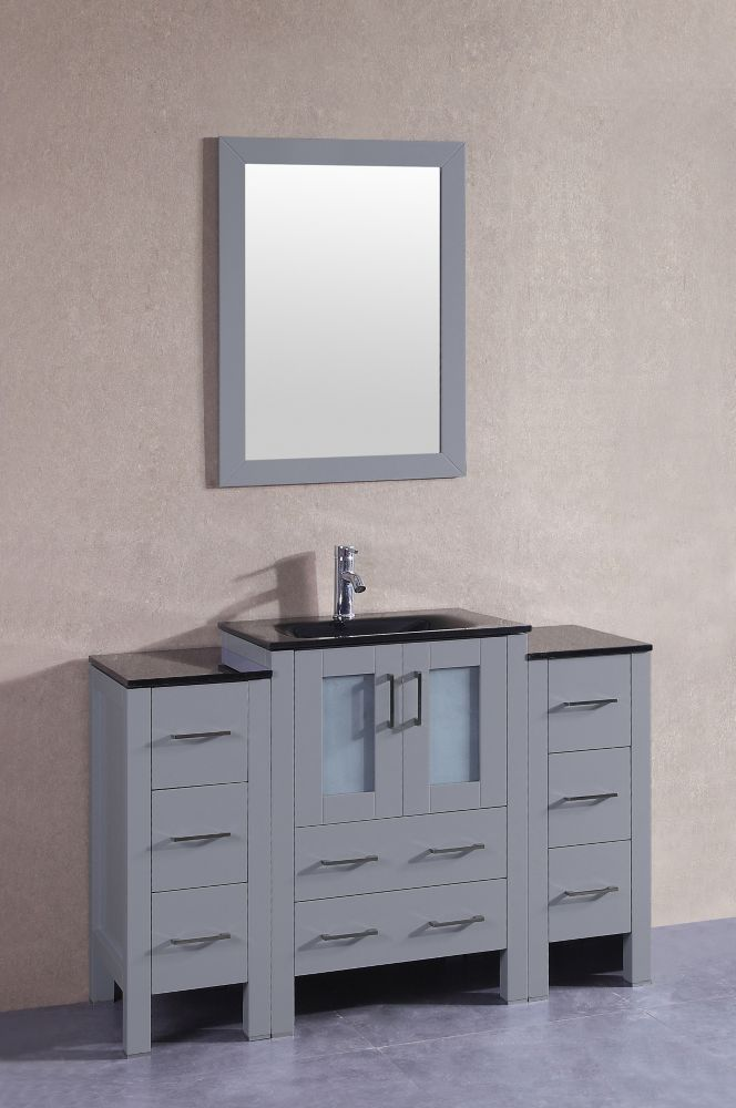 48 Inch W X 18 Inch D Bath Vanity In Gray With Tempered Glass