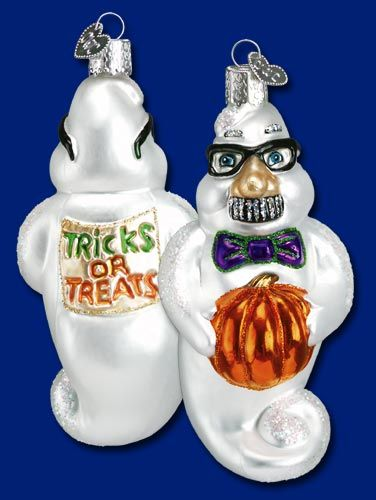 "Grouchy Ghost, 4 ¼""  Old World Christmas Halloween glass ornaments"