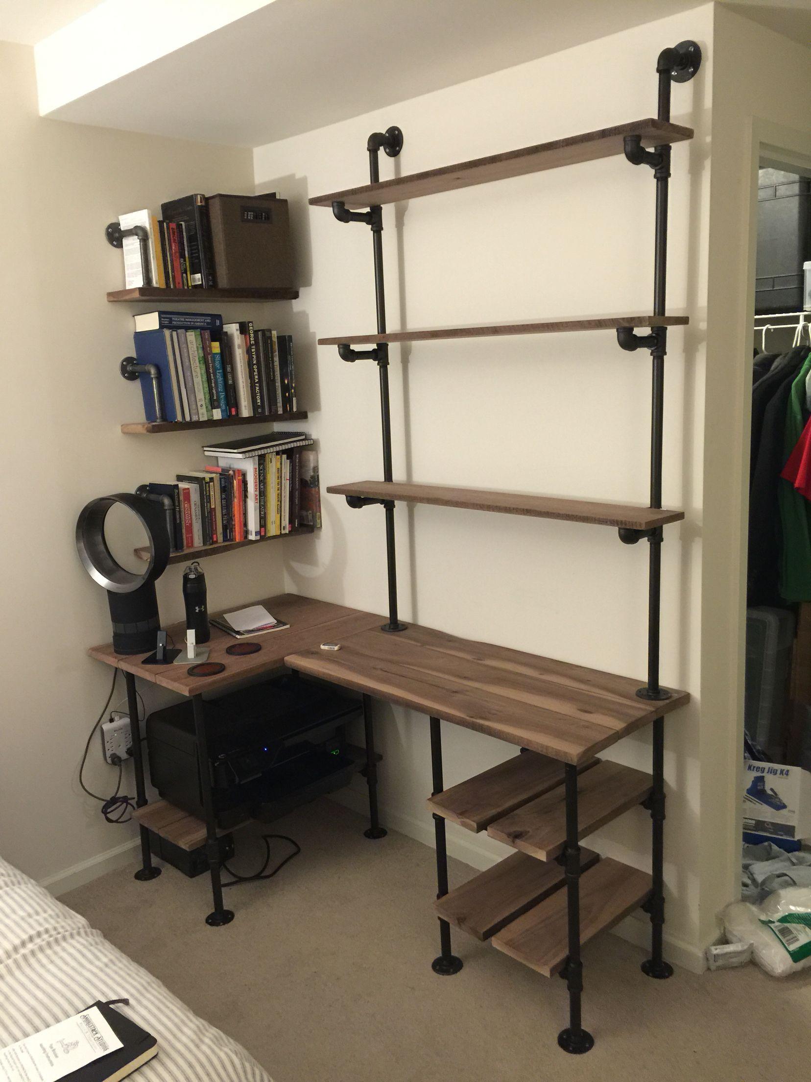 Industrial Pipe and Walnut L Shaped Desk with Shelves