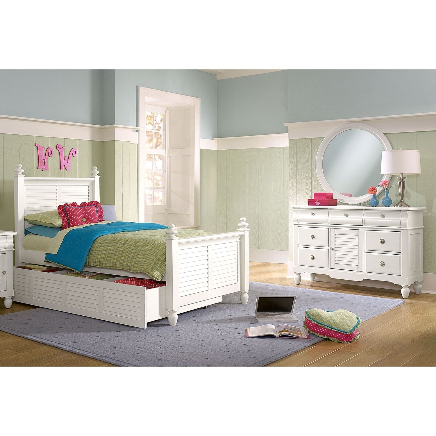 Seaside 6Piece Twin Bedroom with Twin Trundle White