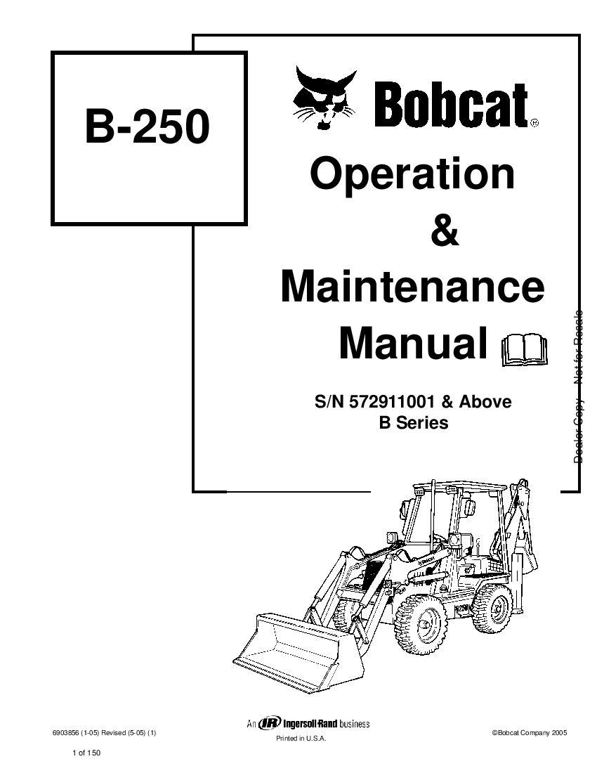 Bobcat b250 6903856 om 5-05 Operation and Maintenance