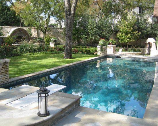 Rectangular Pool Landscape Designs rectangle pools with grass decks |  pool with diving boards