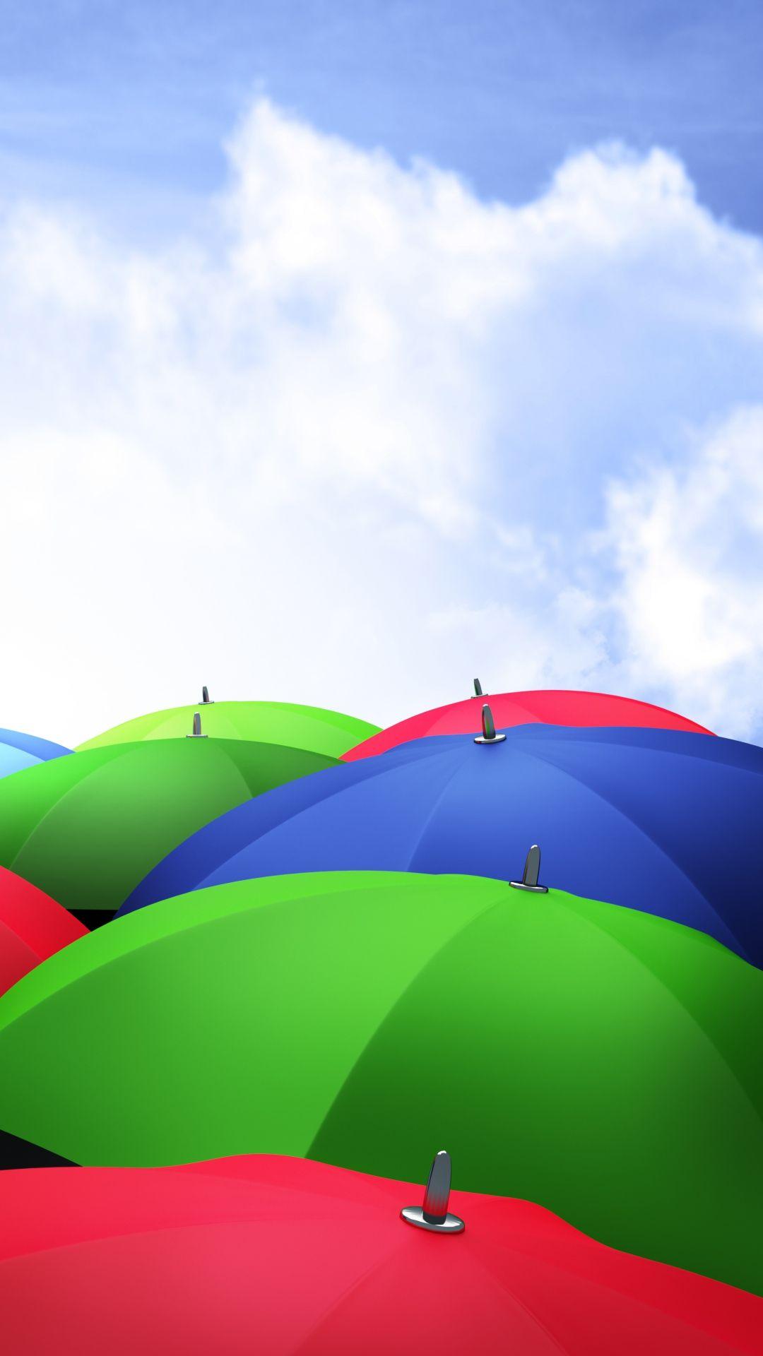 umbrellas 3d sky clouds colorful iphone 6 plus wallpaper