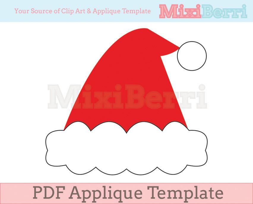 image regarding Santa Hat Template Printable identify Santa Hat Applique Template PDF Templates Applique
