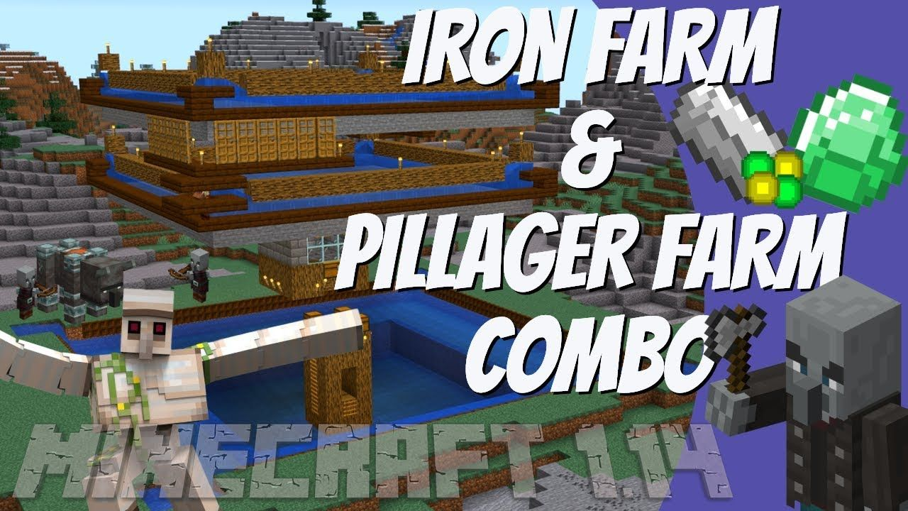 How To Make An Iron Farm That Is Also A Pillager Farm In Minecraft 1 14 Minecraft 1 Minecraft Survival Minecraft