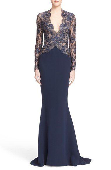Reem Acra – Trompetenkleid aus Spitze und Seide mit V-Ausschnitt bei #Nordstrom erhältlich   – Evening Dresses