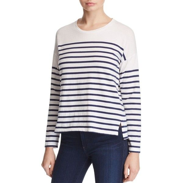 Sundry Crewneck Stripe Tee (94,450 KRW) ❤ liked on Polyvore featuring tops, t-shirts, maritime navy stripe, striped crew neck tee, navy blue crew neck t shirts, crew t shirts, stripe t shirt and navy striped t shirt