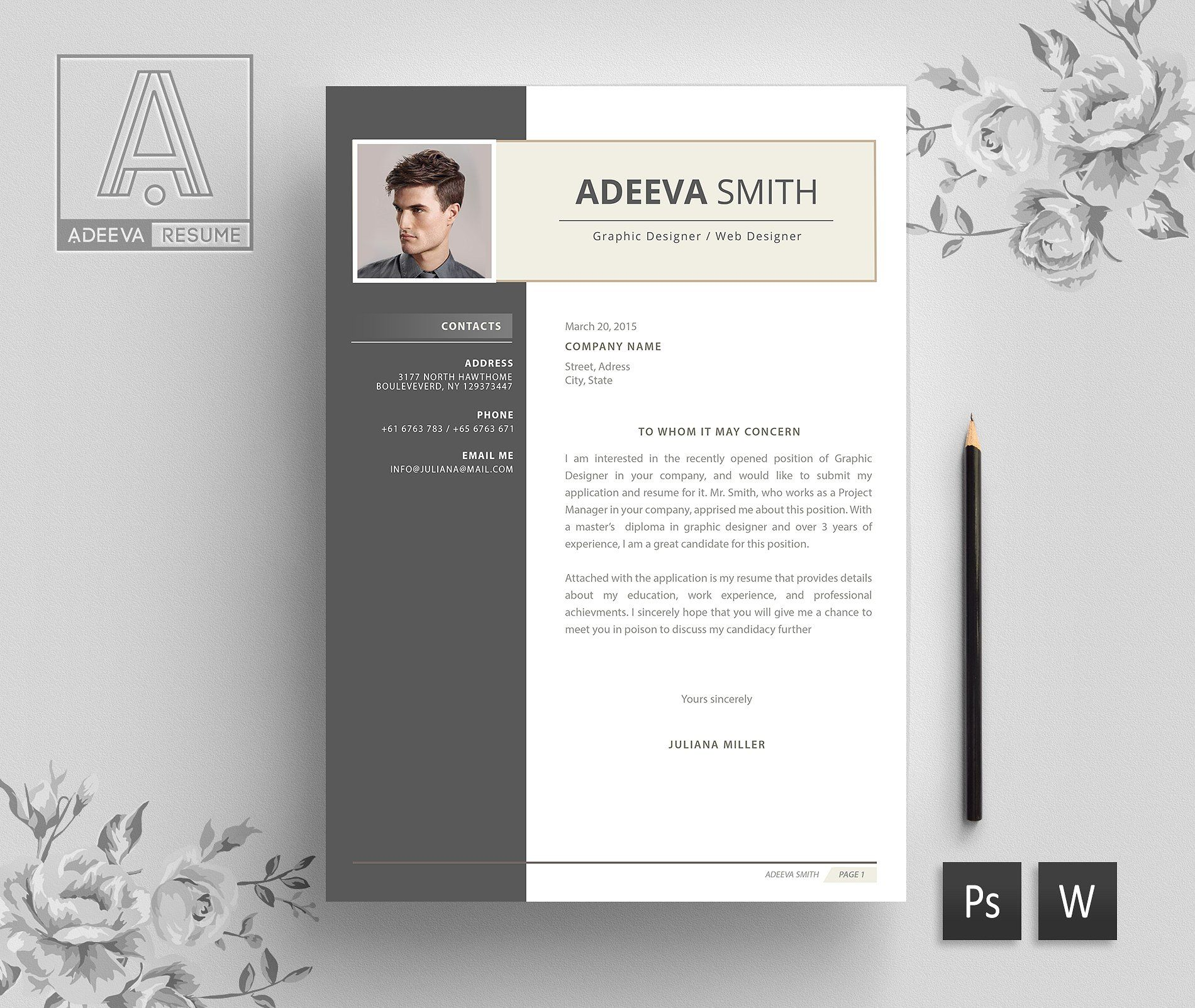 Professional Resume Template Smith Instructions Editing