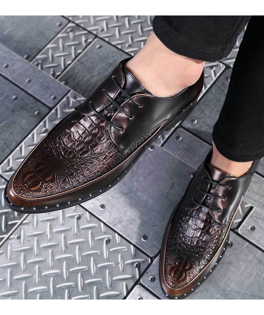 Golden Crocodile Pattern Leather Derby Lace Up Dress Shoe Add