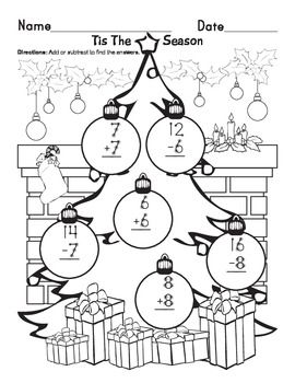 Christmas Touch Points Touch Point Math Touch Math Addition And Subtraction Worksheets