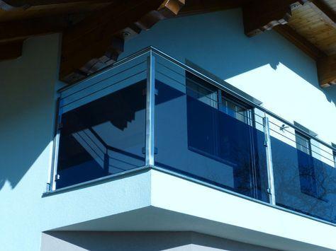 Balkongeländer Aus Edelstahl, Füllung Aus Glas Grau Mit ... Terrassen Gelander Design