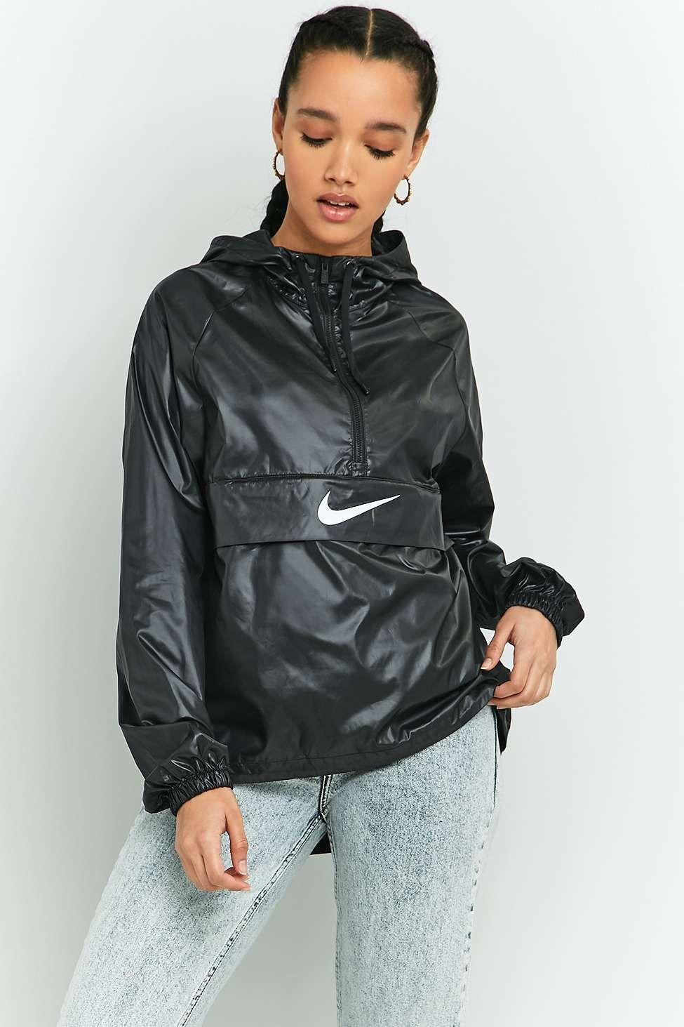 d98fb89860 Nike - Coupe-vent noir avec logo virgule et patte zippée