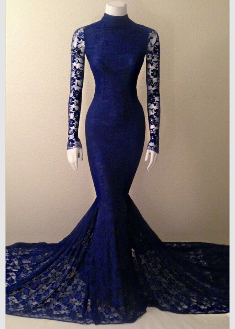Navy blue soft lace long sleeves mermaid evening gown with high neck