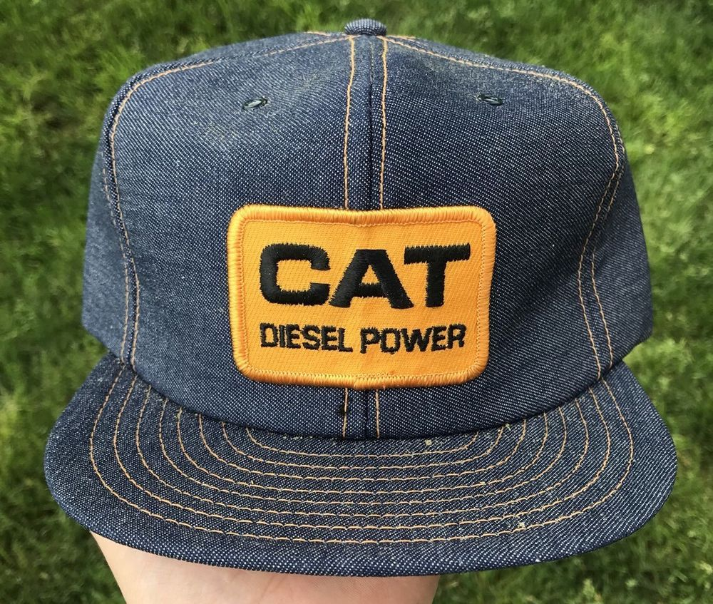 Vintage NEW NWOT Cat Diesel Power Denim Patch Snapback Hat