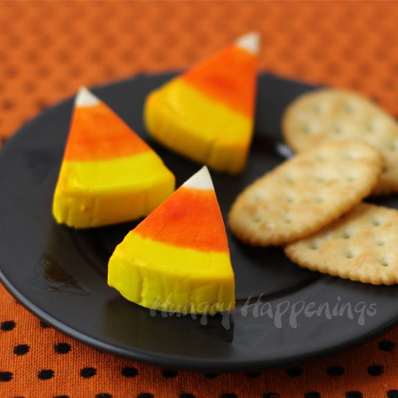 Laughing Cow Candy Corn (Cheese Wedge Halloween Snack) - Hungry Happenings